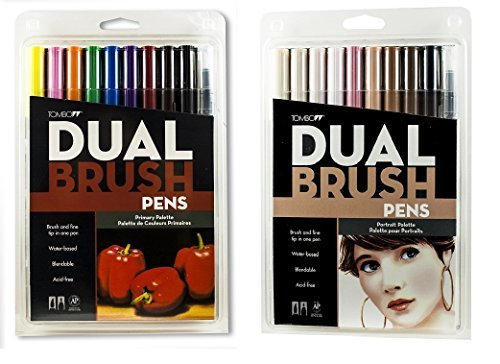 Tombow Dual Brush Pen Set, 20-Pack, Primary Colors and Portrait Colors (56167 & 56170)