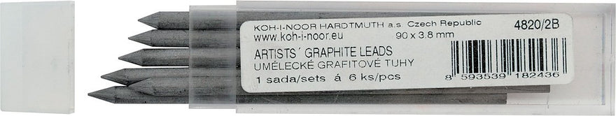 Koh-i-noor Artist's 2B Graphite Leads for 3.8 mm Pencils. 4820