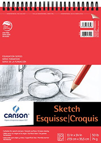 Canson Foundation Series Paper Sketch Pad for Pencil or Pen, Micro-Perforated Sheets, Top Wire