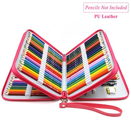 YOUSHARES 120 Slots Pencil Case - PU Leather Handy Large Multi-layer Zipper Pen Bag with Handle
