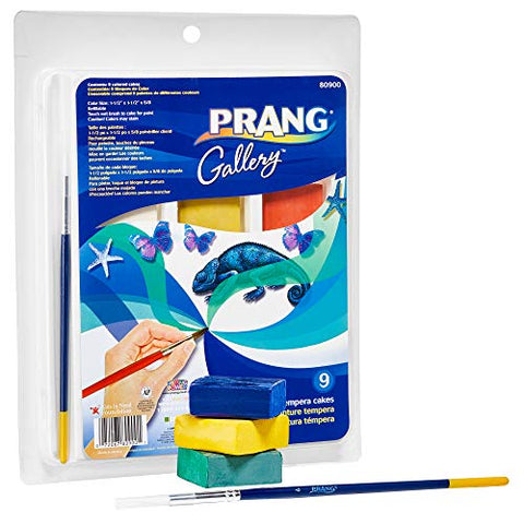 PRANG Gallery Classic Tempera Paint Cakes, Refillable, 9 Color Set with Divided Pan and Brush (80900)