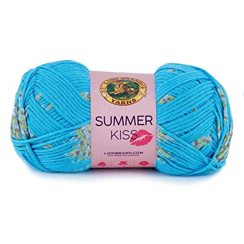 Lion Brand Yarn Summer Kiss yarn, BLUE RASPBERRY