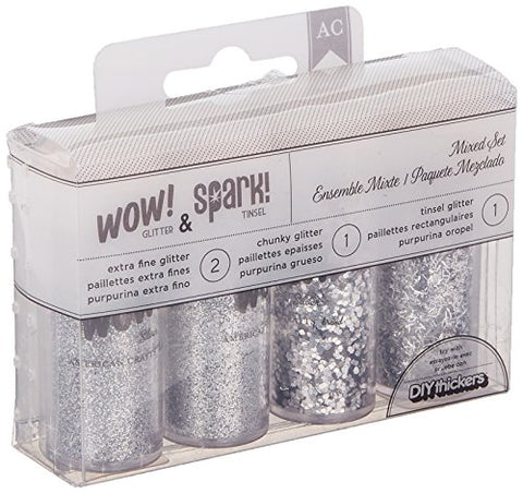 Wow! Glitter and Spark! Tinsel 4pk-Silver