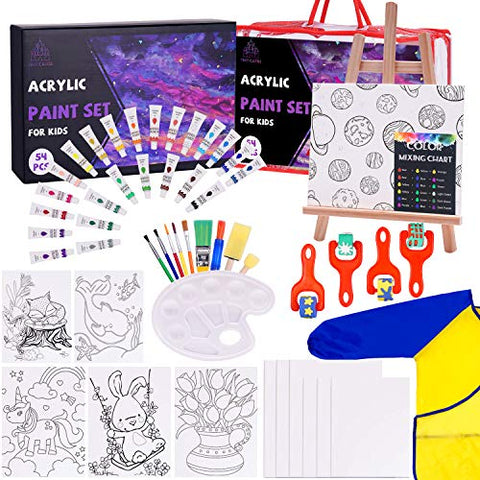 Tiny Castle Kid Paint Set, 54 Pieces Art Supplies for Kids Includes 24 Vibrant Washable Paints, Art Smock, Easel for Kids, 12PCs Large Canvas, Paint Palette, All in a Travel Bag