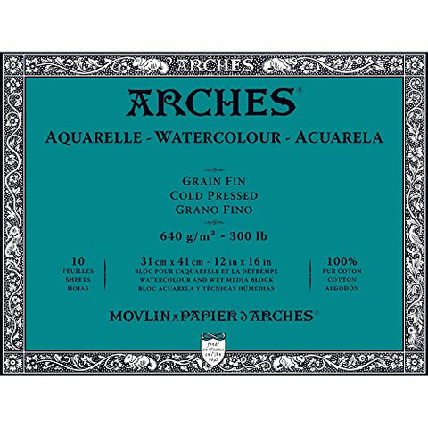 "Arches Watercolor Paper Block, Cold Press, 12"" x 16"", 300 pound (1795067)"
