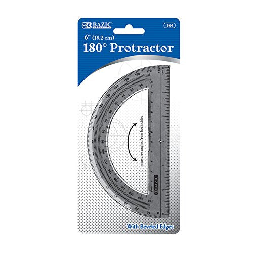 "BAZIC Semicircular 6"" Protractor (Case of 24)"