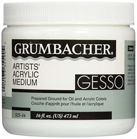 Grumbacher Gesso (Hyplar) Artists' Acrylic & Oil Paint Medium 16 oz. Jar (0146640448), Packaging