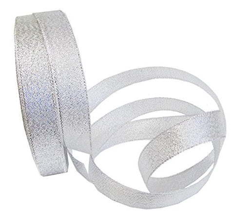 "Silver Ribbon Metallic, 25 Yard 1"" Sparkle Fabric Ribbon For Christmas Holiday, Gift Wrapping, Hair"
