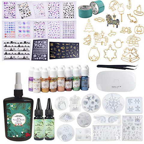 310ML Epoxy Resin (250+2*30)12 Silicone Molds 15 Pearlescent Color Liquid Pigment, Decoration Sheets,17 Open Metal with Tape, Mini Lamp Tweezer for Jewelry Making Craft Art Earrings Necklace Bracelet