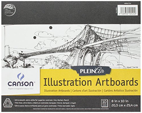 Canson Plein Air Illustration Smooth Art Board Pad for Ink, Markers and Pencils, 8 x 10 Inch, Set