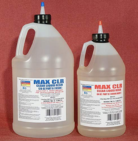 MAX CLR A/B Epoxy Resin System 1.5 Gallon Kit, FDA Compliant, Food Safe 4 Direct Contact Coating and Adhesive, Crystal Clear, Stain Resistant, Countertop & Tabletop Coating, Clear Casting & Art Resin