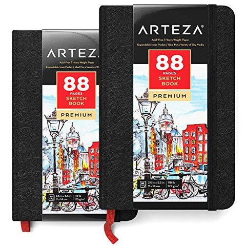 "ARTEZA 3.5x5.5"" Mini Sketch Book, Pack of 2 Pocket Notebooks, 88 Pages per Pad, 118lb/175gsm, Hardcover Journals with Bookmark Ribbon, Inner Pocket, and Elastic Strap, for a Variety of Dry Media"