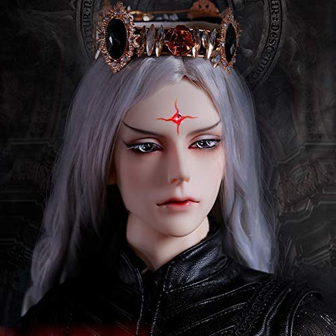 "YILIAN Boy Emulation BJD Doll 1/3 70Cm 28"" Ball Jointed SD Dolls Action Full Set Figure + Clothes + Shoes + Wig + Makeup, Surprise Gift for Male (No Crown)"