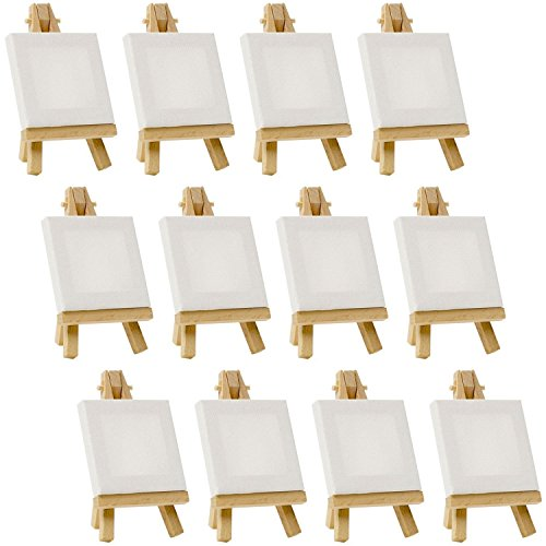 "US Art Supply Artists 3""x3"" Mini Canvas & Easel Set Painting Craft Drawing - Set Contains: 12"