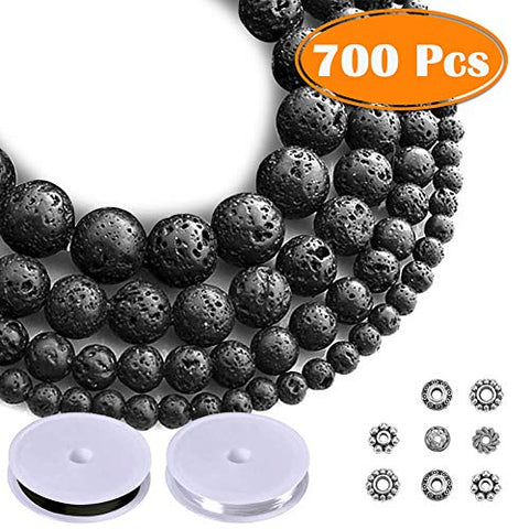 Paxcoo 700pcs Lava Beads Black Lava Stone Rock Beads Kit with Bracelet Spacers and Bracelet