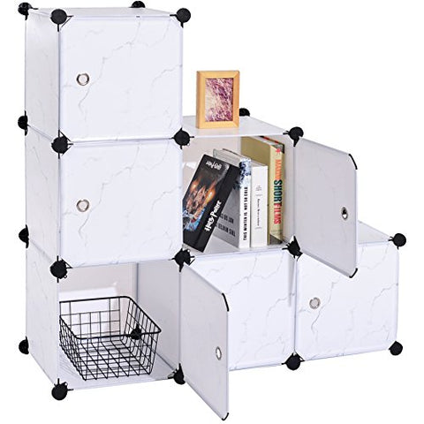 C&AHOME - DIY Closet Organizer Media Storage Cabinet 6 Cube Toy Rack with Doors, Marble Color