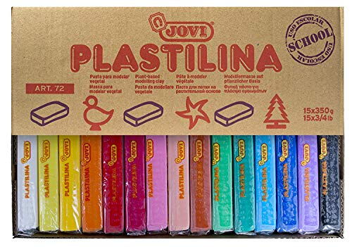 Jovi Plastilina Reusable and Non-Drying Modeling Clay; 350g Bars, 11.5lbs Total; Set of 15, Perfect for Arts and Crafts Projects