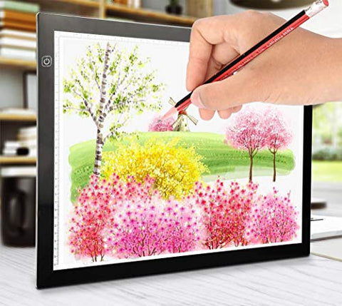 Ultra-Thin Portable LED Light Box Tracer USB Power Dimmable Brightness Artcraft Tracing Light Pad Light Box for Diamond Paint Artists Drawing Sketching Designing Stencilling A3 Size 18.3 x 13.5in