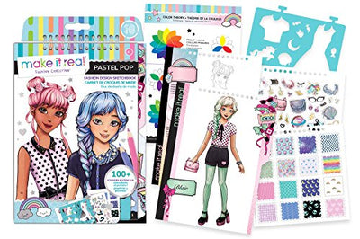 Make It Real - Fashion Design Sketchbook: Pastel Pop. Inspirational Fashion Design Coloring Book for Girls. Includes Sketchbook, Stencils, Puffy Stickers, Foil Stickers, and Fashion Design Guide