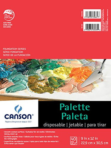 Canson Foundation Disposable Palette Pad, Coated Paper, Fold Over, 9 x 12 Inch, 40 Sheets