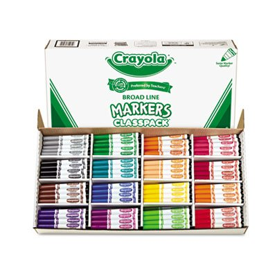 Non-Washable Classpack Markers, Broad Point, 16 Assorted Colors, 256/Box, Sold as 16 Each