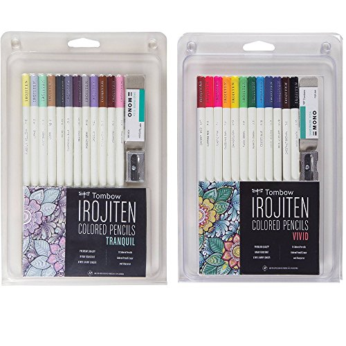 Tombow Irojiten Colored Pencils Set, Tranquil Bundle with Tombow Vivid Set (24 Pencils Total)