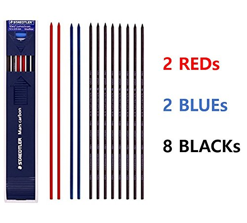 Staedtler Mars Carbon Lead 12 x 2 mm Color Mix (8 HB + 2 Blue + 2 Red) & tiny gift
