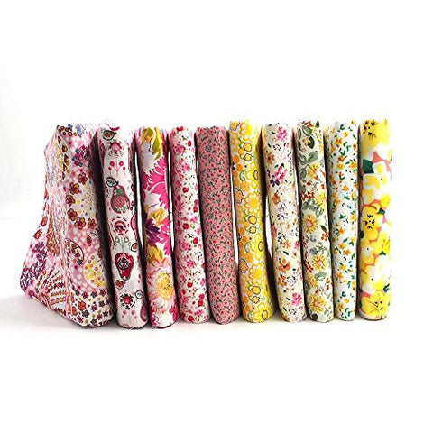 "RayLineDo 10 Pcs Different Pattern Multi Color 100% Cotton Poplin Fabric Fat Quarter Bundle 18"" x 22"" Patchwork Quilting Fabric Yellow and Pink Series"