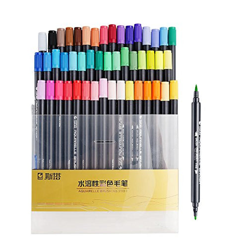 STA 48 Colors Dual Tips Water-Soluble Brush Render Art Graphic Drawing Painting Marker Pen Set