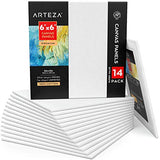 Arteza Canvas Panels 6x6 Inch, Pack of 14, White Blank, 100% Cotton, 12.3 oz Primed, 7 oz Unprimed, Acid-Free, for Acrylic & Oil Painting, Professional Artists, Hobby Painters & Beginners
