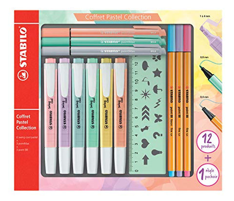 Stabilo Pastel Collection F52064 Set of 13 Mixed Boxes: 6 Swing Cool, 3 Point 88, 3 PointMax with 1
