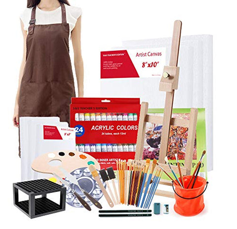 S & E TEACHER'S EDITION Acrylic Paint Set of 67 Pcs, Painting Supplies Set, Mini Easel, Canvas, Artist's Smock, Brush Holder, Acrylic Pad and More.