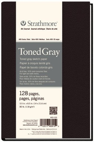"Strathmore 469-108 400 Series Hardbound Art Journal Toned Gray Sketch, 8.5""x11"", 64 Sheets"