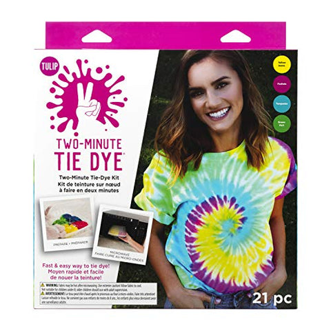 Tulip One-Step Tie-Dye Kit 43189 Fast & Easy Fabric Designs in 2 Minutes Includes Microwavable Containers & Techniques, 4 Vibrant Colors, Tropical Fruit Punch