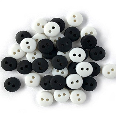 Tiny Buttons for Sewing, Doll Making and Crafts (Black & White) - 3 Packs - 120 Buttons