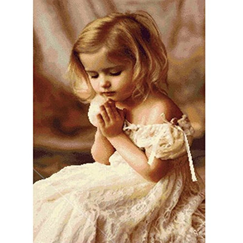 OneHippo 5D DIY Crystal Diamond Painting, Full Picture Painting Praying Girl Counted Paint by Number Kits (35x50) cm