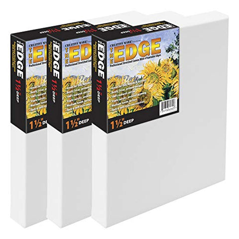 "The Edge All Media Cotton Deluxe Stretched Canvas - Paintable Edges For Frameless Artwork Presentation, Superior Priming For Richness and Purity of Paint Colors - Box of 3 - [1.5"" Deep 