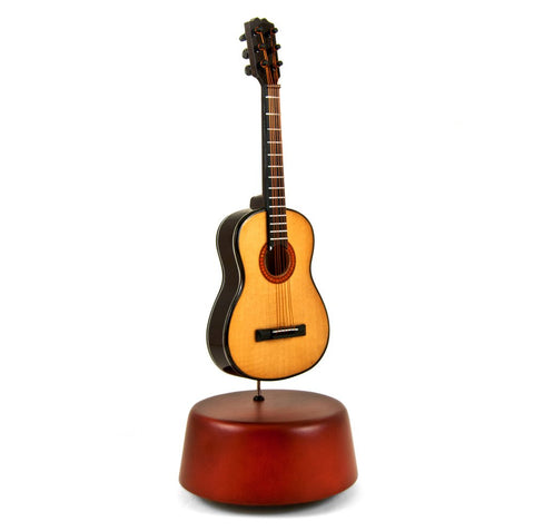 Amazing 18 Note Miniature Acoustic Guitar with Rotating Musical Base - Over 400 Song Choices - Music Box Dancer
