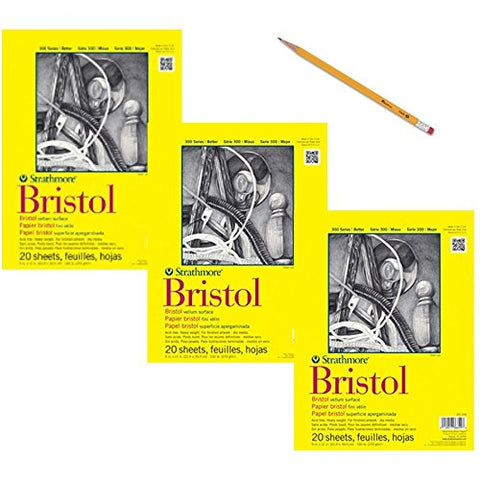 "Strathmore 342-109 300 Series Bristol Vellum Pad, 9""x12"" Tape Bound, 20 Sheets (3 Pack) Bundle with Pencil, HB"