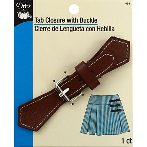 Dritz 458, Faux Leather Tab Closure with Buckle, Brown