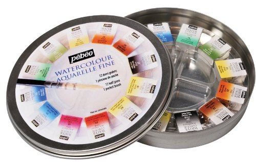 Pebeo 300075 Fine Watercolours Round Metal, Box of 12 Half Pans, 1 Brush and 1 Palette