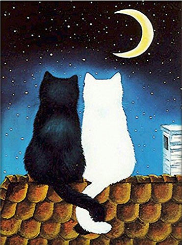 eGoodn Diamond Painting Art Kit DIY Cross Stitch by Number Kit DIY Arts Craft Wall Decor, Full Drill 15.8 inches by 19.7 inches, Black and White Moon Cat, No Frame