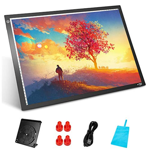 Longan Craft A3 Light Box LED Light Box Ultra-Thin Portable Light Pad Stepless Dimmable Brightness Art Craft Light Tracing Copy Board with Carry Case, for Artists Drawing Tattoo Sketching Animation