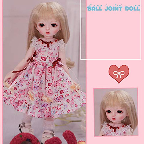 MZBZYU 1/6 BJD Doll 26Cm Princess Toy Fashion Lovely Doll Girl Birthday Gift with Clothes Outfit Shoes Wig Hair Makeup,C
