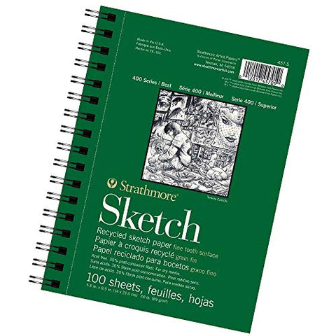"400 Series Recycled Sketch Pad, 5.5""x8.5"" Wire Bound, 100 Sheets (New Version)"