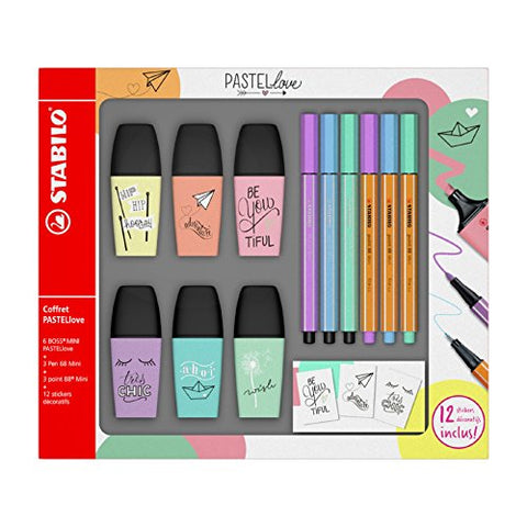 Stabilo Boss Mini Highlighter Pen Set of 6 °F49716 pastellove with 3 Coloured Sign Pens 3 Pens