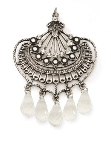 Styled by Tori Spelling (TM) Fan Pendant W/Crystals-Antique Silver 1/Pkg