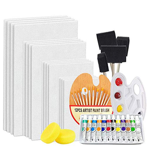 48-Piece Complete Acrylic Artist Painting Set, Canvas Panels Painting Supplies Kit with Acrylic Paints Paint Palette, Paintbrushes, Painting Canvases and More Great for Adults, Kids and Beginner