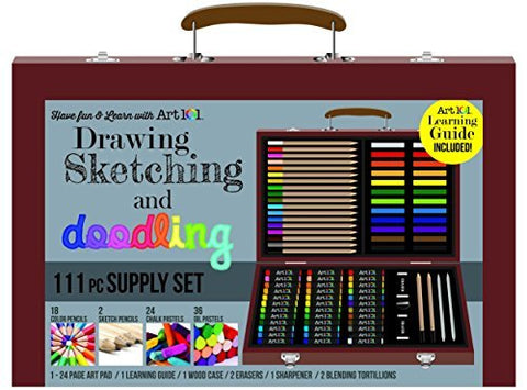 111 pc Drawing, Sketching & Doodling Kit in Wood Case by Art 101