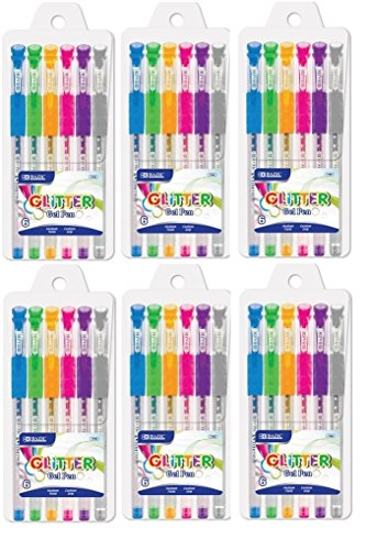6 Pk, Bazic Glitter Color Gel Pen w/ Cushion Grip, Assorted Color (6 Per Pack/ Total of 36 Pens)